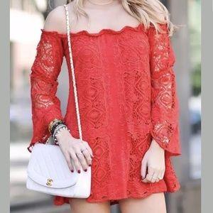 For Love & Lemons Garden Dress Lace Off Shoulder